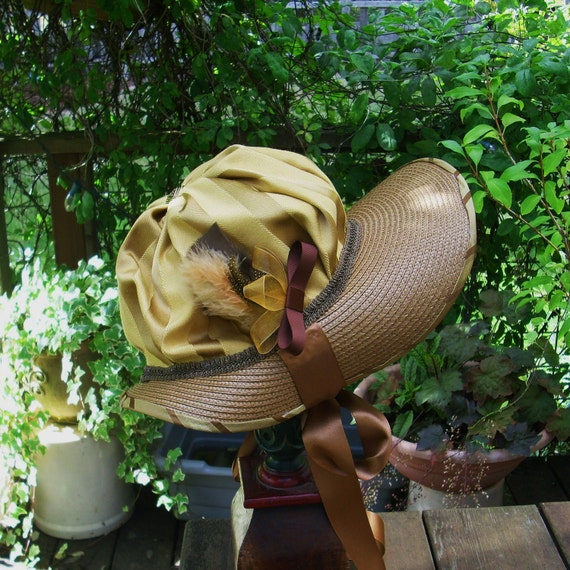 Gold and Brown Regency Bonnet  Ready-To-Wear