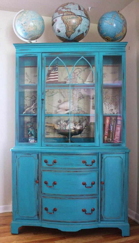 Teal Vintage China Cabinet (sold)