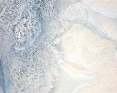 "Blue Painting, watercolor, ice ""St Mary's Glacier"" original fine art"