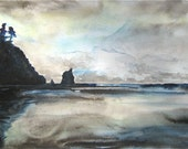 Blue Ocean painting landscape Olympic Coast- an original watercolor painting
