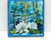 """Water lilly painting, watercolor and encaustic, blue green white floral painting """"water lilies 2"""""""