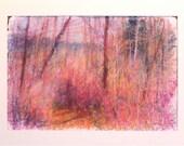 landscape painting forest pink orange brown trees fine art original