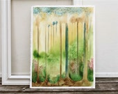 "watercolor painting, forest, trees, ""spring preview"", green yellow pink brown"