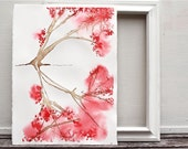 cherry tree watercolor painting, floral abstract, pink brown white washington DC