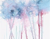SALE! original watercolor painting small blue trees abstract forest