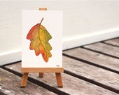 autumn leaf tiny watercolor painting, ACEO, red orange green autumn fine art original, great stocking stuffer