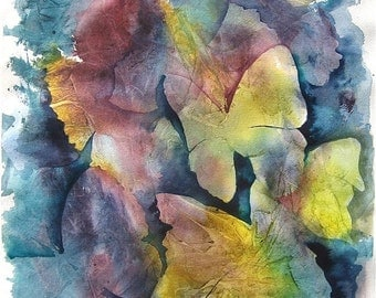 """Butterfly painting, blue purple yellow """"Wings"""", an original abstract watercolor painting fine art"""