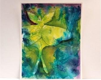 Luna Moth green watercolor painting original fine art