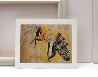 honey bee watercolor painting yellow black fine art giclee print
