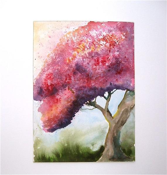 Flowering Tree- an original watercolor painting