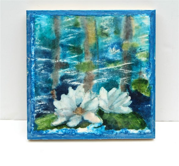 "Water lilly painting, watercolor and encaustic, blue green white floral painting ""water lilies 2"""