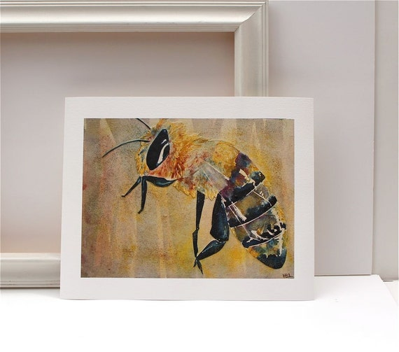 Honey Bee Watercolor Painting Yellow Black Fine Art Giclee