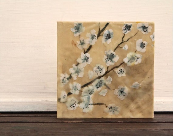 spring preview, encaustic watercolor painting on silk paper, cherry blossoms original painting cream, white
