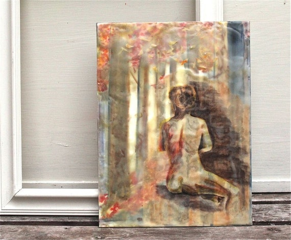 dreaming- an original encaustic mixed media painting, female nude, forest, brown