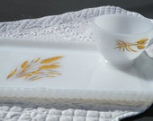75% of this item, enter LOVE2016 at checkout. Milkglass Snack Plate with Cup, Wheat Pattern