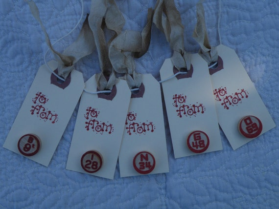 75% off enter LOVE2016.  BINGO Gift Tags, Set of 5, Package Tags, Tags, Handmade Tags, Bingo, Bingo Tags, Gift Tag, Gift Tags