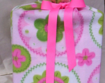 ON SALE Large Pink And Green Resuable Fleece Gift Bag Ecofriendly