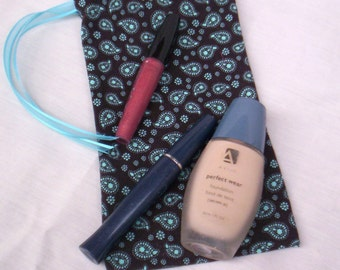 Small Ecofriendly Dark Brown And Aqua Reusable Fabric Bag