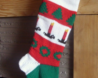 Personalized Christmas Stocking Knitted Lined - Trees Candles and Wreaths