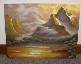 Sunset Over The Mountains Landscape Oil Painting