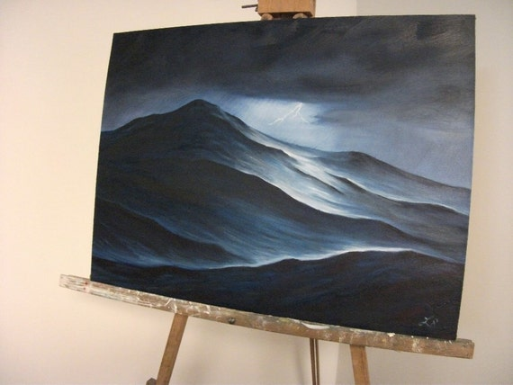Stormy Ocean Waves, Sea, Night, Lightening, Clouds, Water, Oil Painting