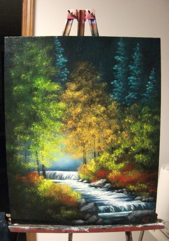 Trees and Stream in The Fall Landscape Oil Painting