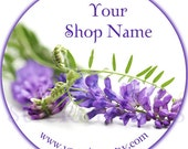 Purple Lavender Flowers - 100 GLOSSY Round Product Label  Stickers