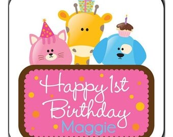 Personalized Birthday Party Animals Stickers - Set of 100 Glossy 2 Inch Square Labels