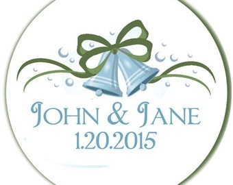 Wedding Bells Personalized Glossy Round Labels - Set of 100