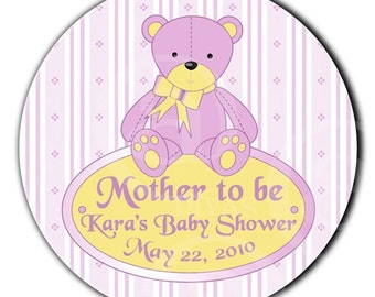 Personalized Teddy Bear Baby Shower Designer Labels -100 glossy Custom Stickers