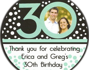 Personalized Photo Birthday Round Glossy Labels