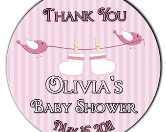 Birds and Booties on a Clothesline in Pink Baby Shower Personalized Glossy Round STickers