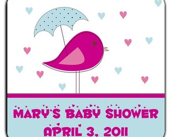 Its Raining Hearts Mod Bird With Umbrella Baby Shower Personalized Labels - 100 GLOSSY 2 Inch Square Stickers