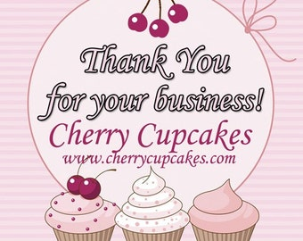 Cupcakes With a Cherry On Top Personalized Custom 2 Inch Square Glossy Labels