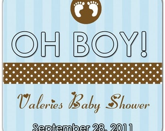 Oh Boy - Tiny Feet Blue and Brown Baby Boy Shower Personalized Labels - 100 GLOSSY 2 Inch Square Stickers