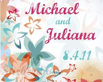 Personalized Abstract Retro Floral  Designer Wedding Square Glossy Labels