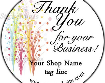 Abstract Floral Dots Thank You Custom Shop Stickers - 100 GLOSSY Round Product Labels