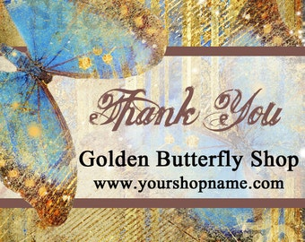 Personalized Golden Butterfly Labels