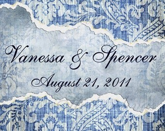 Custom Blue Denim and Damask Casual Elegance Wedding Design Glossy Labels