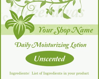 Customized Green Floral Bath and Body Shop Product Square Glossy Labels
