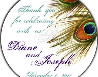 Personalized Peacock Feathers - 100 GLOSSY 2 Inch Round Wedding Stickers