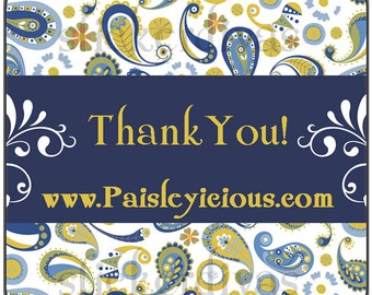 Personalized Blue Paisley Thank You Labels - For Product Packaging, Shop, Address Labels, Birthday Favors Etc.