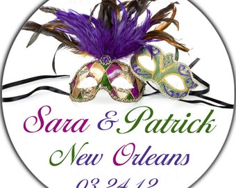 Personalized Mardi Gras Masks Wedding Labels - 100 GLOSSY Round Stickers for Weddings Birthdays Any Occasion