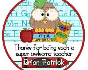 Personalized Teacher Thank You Stickers with School Supplies Apple Crayon Owl - 100 Round Labels