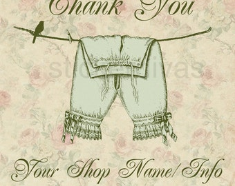 Personalized Product Thank You or Shop Glossy Labels Vintage Pantaloon Bloomers On Laundry Line with Shabby Chic Roses Background