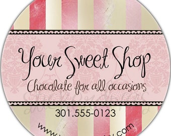 Sweet Shop Personalized Product Thank You Favor Wedding Address Birthday Glossy Labels Pink Stripes Damask Shabby Chic Stickers