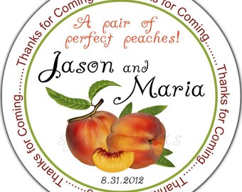 Personalized Wedding Favor Labels Pair of Peaches - 100 GLOSSY Round Wedding Stickers
