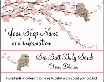 Cherry Blossoms and Bird Bath Body Beauty Shop Product Packaging Thank You Glossy Labels Custom Personalized