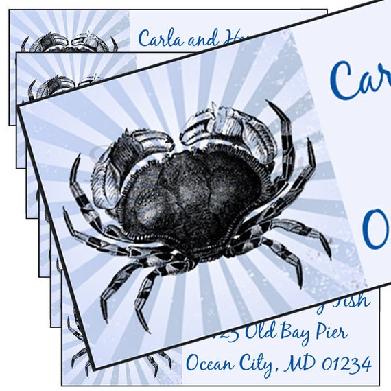 Crab Illustration on Blue Grunge Background Designer Address Labels