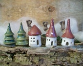 Fairy Houses -Set of 3 -  Porcelain with Deep Red Roof - Handmade on the Potters Wheel